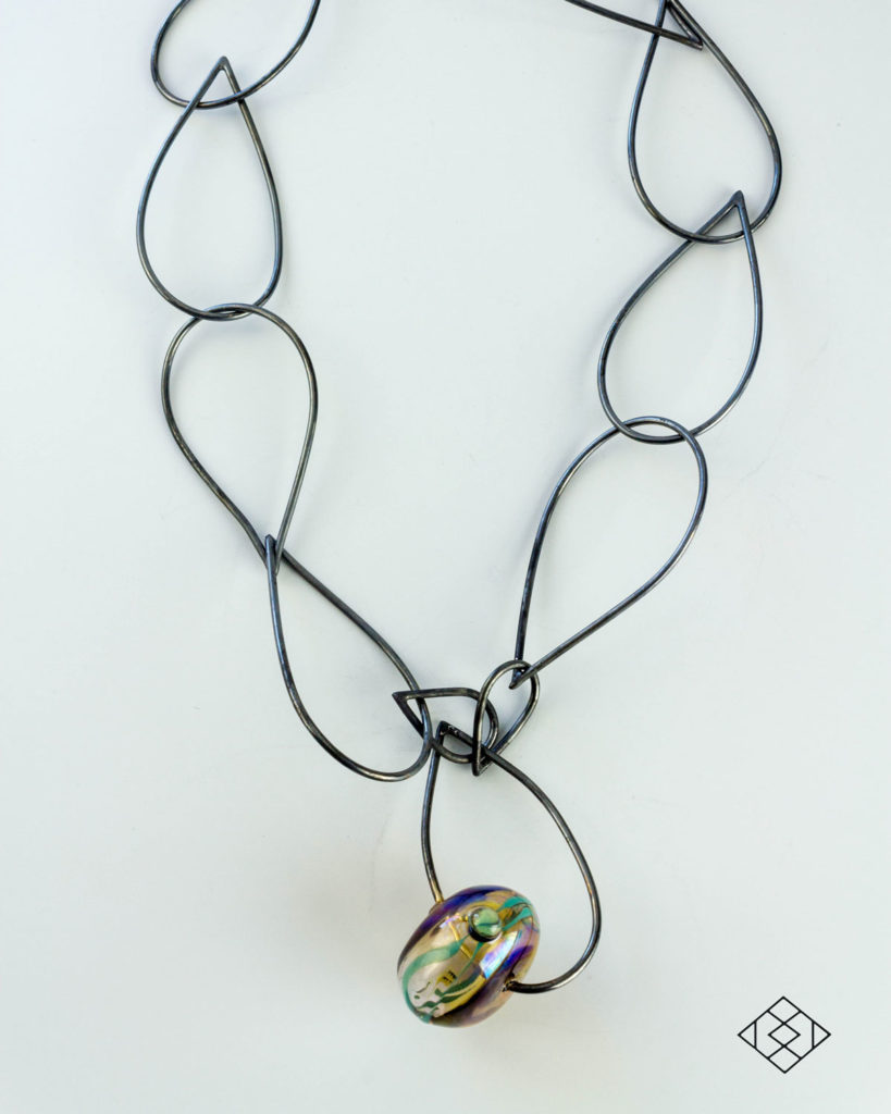 statement-necklace-sterling-silver-hollow-lampwork-bead